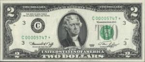 купюра два доллара